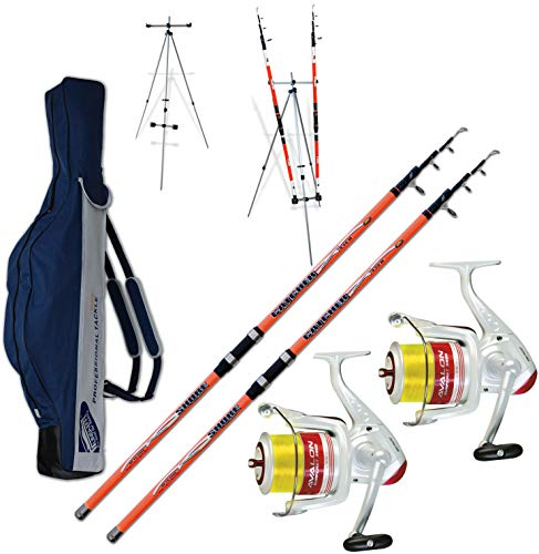 Kit 2 pz Canna Surfcasting Catcher 420 + 2 Pz Mulinello Trabucco Avalon 6500 + Fodero in Cordura 175cm + TRIPODE SURFCASTING
