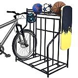 Lycklig Bike Rack Garage Floor Parking Stand for 3 Bicycles, Bike Stand Rack with Storage Basket, Standing Bicycle Rack for Road, Mountain, Hybrid, Adult or Kids Bike, Black