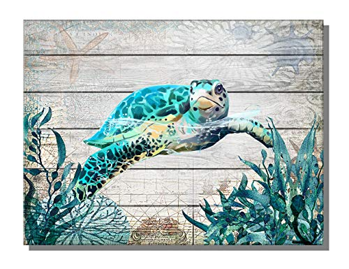 ARTZWPENG Sea Turtle Bathroom Decor Ocean Canvas Pictures Beach Theme Wall Art Coastal Artwork for Kid Girls Room...