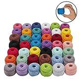 Kurtzy Fil de Crochet (42 Pcs) - 10 Grammes, 74 Mètres Fil de Coton avec Crochets- Coton pour Crochet - Fil à Coton pour Les débutants et Les Passionnés de Crochet Expérimentés (Couleurs Assorties)