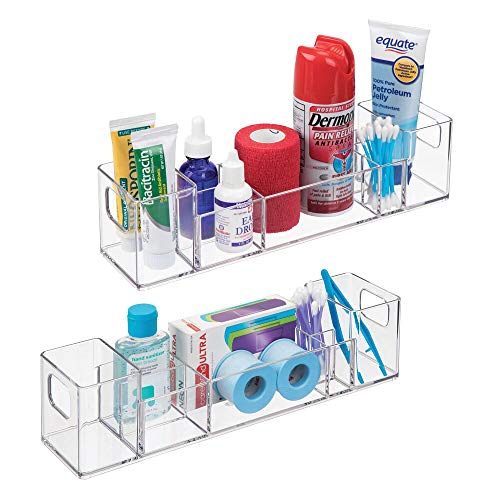 mDesign Plastic Storage Organizer Bin with Handles - Divided...