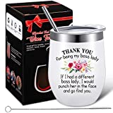 Boss Girl Lady Gifts, Thank You for Being My Boss Coffee Mug, Novelty Birthday Christmas Presents for Women Bosses Female Gifts, 12 oz Insulated Vacuum Wine Tumbler with Straw Lid and Brush
