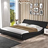 SHA CERLIN King Size Bed Frame, Upholstered Faux Leather Low Profile Sleigh Platform Bed with Adjustable Headboard, Wood Slat Support, Black