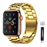 Fitlink Stainless Steel Metal Strap Replacement Link Bracelet Band Compatible with 2019 Apple Watch Series 5 Apple Watch Series 1/2/3/4 38/40mm and 42/44mm (Gold, 42/44 mm)