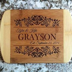 Personalized Mini Cutting Board - Decorative Small Wood Cutting Board for Housewarming Gifts, Also Bridal Shower and Wedding Gifts (6 x 8 Two Tone Bamboo with Curved Edges, Grayson Design)