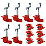 (6 Pack) 3/4' Wood Gluing Pipe Clamp Set Red Cast Iron Clamps Heavy Duty Quick Release Pipe Clamps for Woodworking