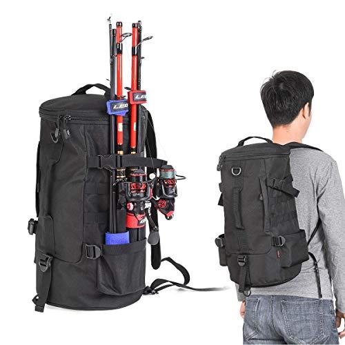 Zainetto da pesca cilindrico da 23 l, borsa portaoggetti portatile a 3 strati, multifunzionale, morbida, con lati larghi, per escursioni e sport