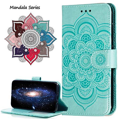 MRSTER Huawei Y5 2018 Custodia Flip, Goffratura Design Case in PU Pelle Internamente Silicone TPU Cover Portafoglio Cover Premium Custodia per Huawei Y5 2018 / Honor 7S. LD Mandala Green