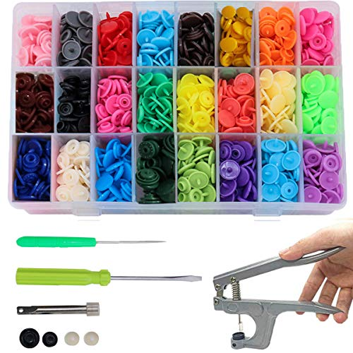 Pulsante Pression, in plastica, kit di pinze in metallo, pinza (T3, T5, T8), per bricolage, tutti i vestiti, accessori 361 set T5 bottoni da 12 mm, 24 colori (con attrezzi)