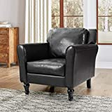 ALPHA HOME Accent Chair Living Room Chair Mid-Century Modern Chair PU Leather Armchair Wingback Single Sofa Padded Thick Cushion Home Club Chair Business Office Chair with Chromed Steel Frame, Brown