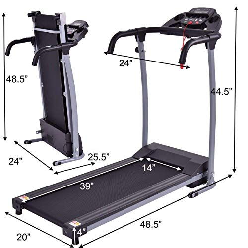 Goplus 800W Folding Treadmill Electric Motorized Power Fitness Running Machine with LED Display and Mobile Phone Holder Perfect for Home Use (Black) 4