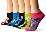 Disney Women's Lilo & Stitch 5 Pack No Show, Assorted Bright, Fits Sock Size 9-11 Fits Shoe Size 4-10.5