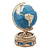 ROBOTIME 3D Puzzle Wooden Globe Model Kit DIY Craft Kits to Build STEM Gifts for Kids & Adults