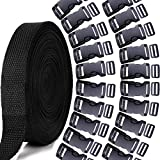 1 Inch Nylon Webbing Strap, YGDZ 10 Yards Nylon Strap with 20 Set 1 Inch Side Release Plastic Buckles for Luggage Strap Backpack Repairing, Black