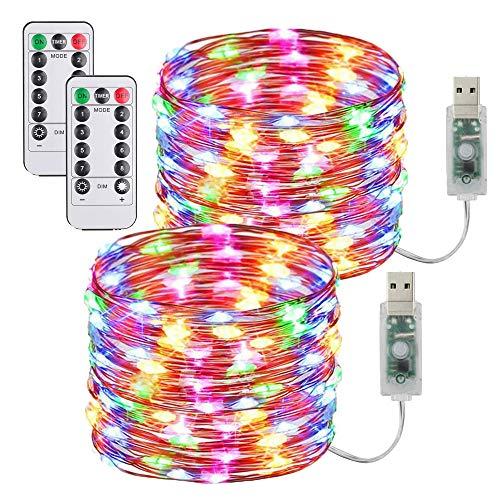 Lucine Led Decorative,[2 Pezzi]USB Stringa Luci LED 10m/33FT 100 Led Catene Luminose,Impermeabile Ghirlanda Luminosa Lucine,per Camere da Letto Giardino Casa Feste Natale Matrimonio (Multicolore)