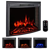 Bigzzia Electric Fireplace Insert 26', Smokeless 750W-1500W Electric Stove Heater with Remote Control and Adjustable Time Setting for Home Use, Colorful Flame Option Wall Mounted Heater