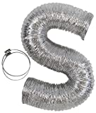 Flexible Clothes Dryer Duct - 10 Foot by 4 Inch | Includes 2 Premium Screw Clamps