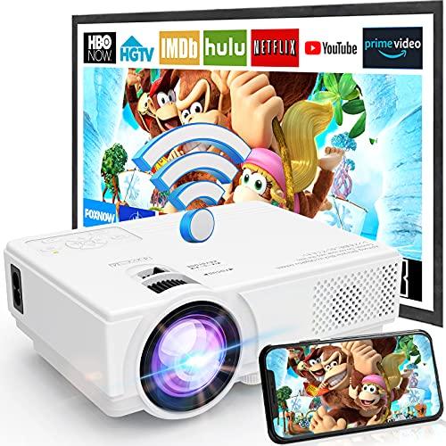 Projecteur WiFi M8-TPA 1080P Full HD Supportée, Mini Rétroprojecteur 6500L, Projecteur Portable Compatible avec Smartphone, Tablette, TV Stick/Box, HDMI, USB, TF, VGA, Vidéoprojecteur Home Cinéma.