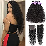 8A Wet and Wavy Bundles With Closure (12 14 16+10) Water Wave Human Hair Bundles With Closure Free Part 100% Unprocessed Virgin Brazilian Hair Ocean Wave Human Hair Extensions No Shedding Laritaiya