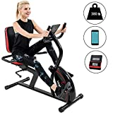 Vanswe Recumbent Exercise Bike 16 Levels Magnetic Tension Resistance 380 lbs. Stationary Bike with Adjustable Seat, Transport Wheels and Bluetooth Connectivity for Seniors Workout and Physical Therapy