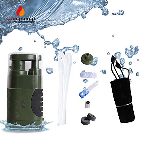 Product Image 1: Portable Water Purifier Pump with Replaceable Carbon Water Filter,Water Filter Purifier Hand Operat Pump Purification System for Backpacking Survival Camping Hiking Emergency Disaster for Home&Outdoor