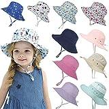 Chapeau de soleil de plage extérieur pour bébé avec corde réglable, chapeau de seau d'été à motifs d'animaux pour garçons et filles, chapeau respirant...