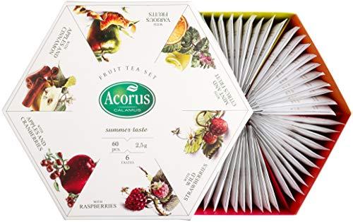 ACORUS – Summer Taste (Gusto dell'estate) – Set da tè alla frutta di sei gusti diversi in un buon imballaggio di presentazione (60 bustine di tè)