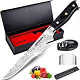 MOSFiATA 6' Boning Knife, Sharp Kitchen Cooking Knife with Finger Guard and Knife Sharpener, German High Carbon Stainless Steel EN1.4116 Chef's Knife with Micarta Handle and Gift Box