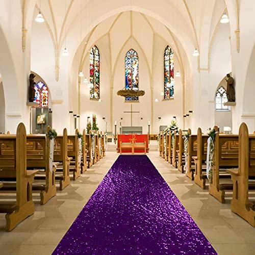 Aisle Runner for Weddings Purple Aisle Runner-36Inchx15FT Sequin Aisles Floor Runner Glitter Aisle Runner for Ceremony (Purple)