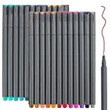 24 Fineliner Color Pens Set, Taotree Fine Line Colored Sketch Writing Drawing Pens for Journal Planner Note Taking and Coloring Book, Porous Fine Point Pens Markers, Great for Art Crafts Scrapbooks