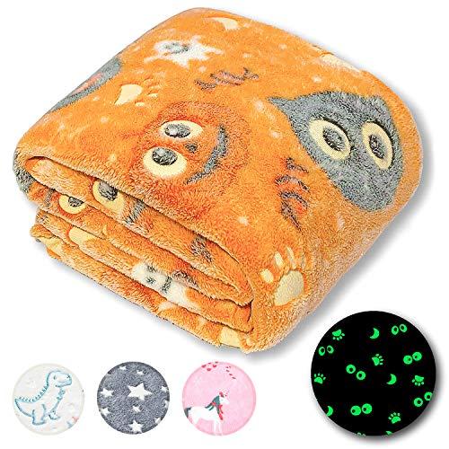 FORESTAR Halloween Glow in The Dark Blanket, Halloween Unique Gifts for Kids Boys Girls and Grandkids, Orange Pumpkin Blanket, Premium Super Soft Fuzzy Fluffy Furry Fleece Throw Blanket (50
