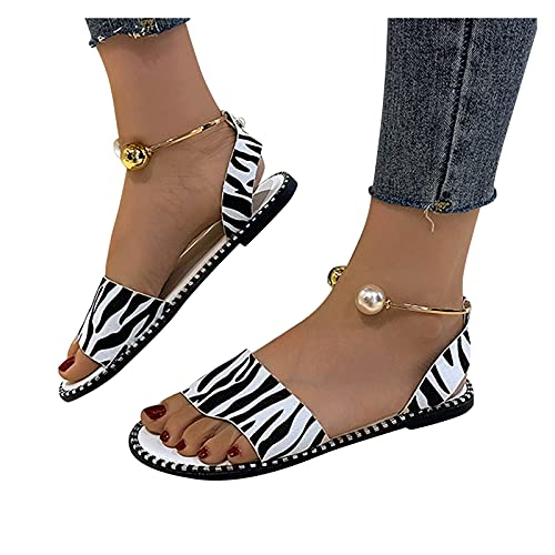 Sandalias De Verano para Mujer 2021 Sandalias Planas De Perlas con Estampado De Leopardo CláSico Zapatos De Playa