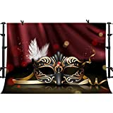 Gold and Black Mask Backdrop Masquerade Dress-up Party Background for Photography Vinyl 10x7ft White Feather Red Curtain Backdrop Photo Booth Props PHMOJEN GEPH304