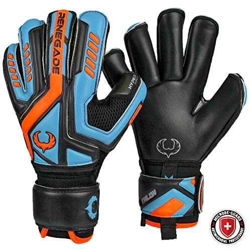 Renegade GK Talon Revolt Goalie Gloves with PRO-Tek Fingersaves | 4mm Hyper Grip & Duratek | Black, Green, Red Goal Keeper Gloves (Size 10, Adult, Mens, Neg. Cut, Level 2)