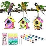 colmanda Casetta Uccelli Costruire Fai da Te, 3 Pack Casette per Uccelli da Dipingere Kit Casetta Uccelli Legno, Artigianato Casetta Uccelli in Legno Artigianato per Bambini Regalo (3 Pack)