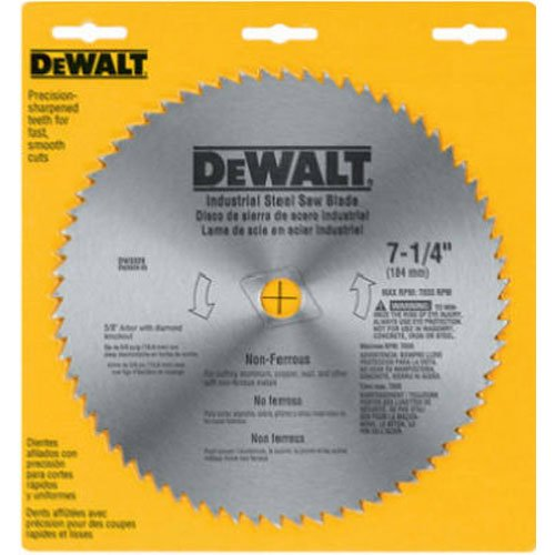DEWALT 7-1/4' Circular Saw Blade, Metal Cutting, 5/8-Inch and Diamond Knockout Arbor, 68-Tooth (DW3329)