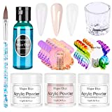 Polvo Acrílico,Anself 3 color Gel para Uñas Acrilico para Uñas Kit Uñas Acrilicas de polvo de uñas de cristal Kit de manicura