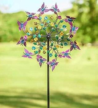 Moulin à vent rotatif en métal avec papillon coloré - Grand moulin à vent en métal - Fleurs et papillons - Pour cour et jardin