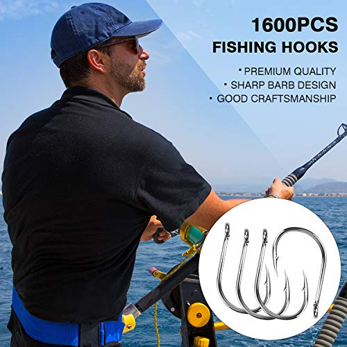 HETH 1600pcs Bigger Size Fishing Worm Hooks High Carbon Steel Wide Gap Offset Fishing Hook Set for Saltwater and Freshwater with 10 Sizes