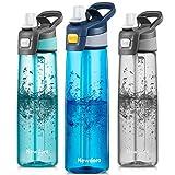 Newdora Borraccia Bambini-750ml-Borraccia con Cannuccia per Bambini-Mini Bottiglia Acqua Senza BPA-Bottiglia A Prova di Perdite-Borraccia Termica in plastica-Borraccia con Cannuccia Portabile - Blu