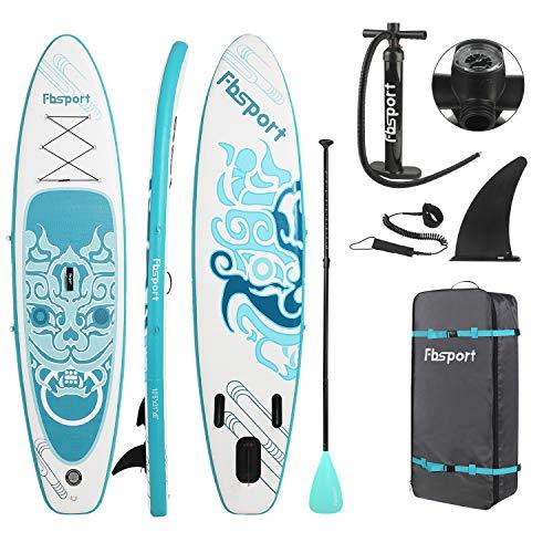 FBSPORT Aufblasbares SUP Stand-up Paddel Board 15cm Dick, iSUP Paddle Board mit Pumpe + 3-TLG verstellbares Alu-Paddel + Paddelbrett Pumpe | Stand up Board Set -300x76x15cm (New_Blue)