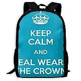 TTmom Zaini/Zaino Casual,Borse a Zainetto, Backpack Keep Calm and Teal Wears The Crown Zipper School Bookbag Daypack Travel Rucksack Gym Bag For Man Women