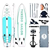 Inflatable 12'×34'×6' SUP with Kayak Conversion Kits Everything Included with Paddle Board, Adj 2 in 1 Paddle,Kayak seat,Fishing Rod Holder, Double Action Pump, ISUP Backpack, Leash,Waterproof Bag