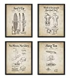 Vintage Surfing Wall Art Patent Prints with Slogans, Set of 4, Unframed, Beach Artwork Wall Decor, All Sizes