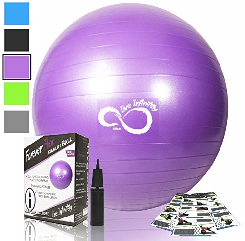 Live Infinitely Exercise Ball (55cm-95cm) Extra Thick Professional Grade Balance & Stability Ball- Anti Burst Tested Supports 2200lbs- Includes Hand Pump & Workout Guide Access (Purple, 75 cm)