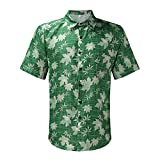 Chemise de Plage Hawaiien Homme imprimé Motifs Florals avec Bouton col à Revers Manche Courte Chemise décontractée Respirante lâche à la Mode été Plage