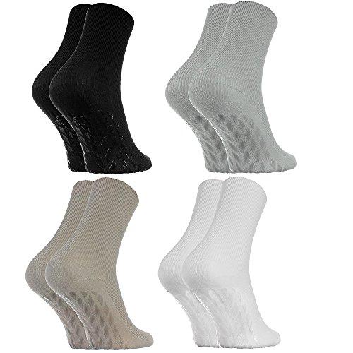 Rainbow Socks - Donna Uomo Calzini Diabetici Senza Elastico Antiscivolo ABS - 4 Paia - Nero Bianco...