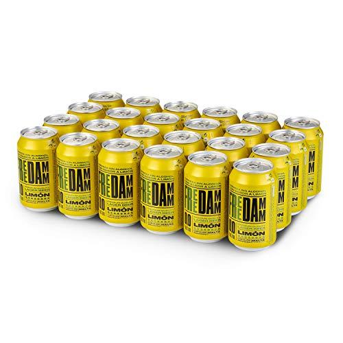 Free Damm Cerveza Limón - Paquete de 24 x 330 ml - Total: 7