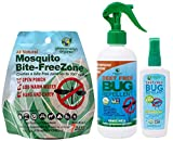 Greenerways Organic Bug Repellent Family Pack with Bug Repellent for Kids (4 oz), Bug Repellent (12 oz), and Mosquito Free Zone Pouch