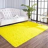 AROGAN Fluffy Area Rug for Bedroom Yellow Living Room Rug, Plush Soft Fuzzy Area Rugs, Comfy Shag Carpet for Nursery Kids Girls Play Area 4x5.9 Feet